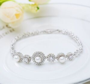White Round Pearl Wedding Silver Crystal Party Gift Anniversary Bridal Bracelet