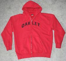OAKLEY Full Zip Hoodie Sweatshirt Men's LARGE L Red Spell Out Black Lettering