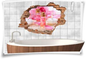 Fliesen-Bild Wand-Durchbruch 3D Fliesen-Aufkleber SPA-Wellness Kerzen-Licht Öl