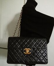 CHANEL Black Quilted Lambskin Leather Big CC 24k Gold Chain Maxi Jumbo Flap Bag