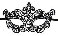 Maschera Di Venezia Lea IN Pizzo Di Burano-Lupo Zibetto Nero 2224 V2