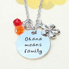 "925 Silver Plt 'Ohana Means Family' Lilo And Stitch Engraved Necklace 18"" A"