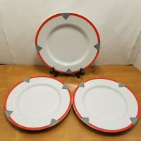 "Studio Nova Tri Angles 8"" Salad Plate Round Vintage Set of 3 Japan Red White"