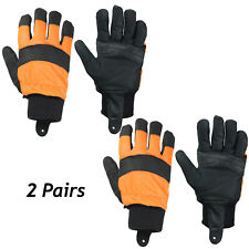 Chainsaw Gloves Large Forestry Orange Hi Visual Size 10 Comfort Safety Glove x 2