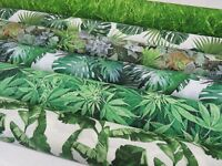 DIGITAL Designer TROPICAL Palm Tree Leaf Green Cotton Curtain Fabric Upholstery