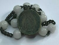 † SCARCE ANTIQUE MOTHER OF MARY VIRGIN MILK WHITE GLASS CHAPLET ROSARY 22 BEADS†