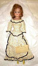 "Antique Wax Paper-Mache Girl Doll circa 1850 - 1870 - Mohair Wig, Glass Eyes 17"""