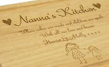 Personalised Nanna's Kitchen Engraved Birch Wood Chopping Board Gift