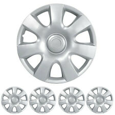 Hubcaps for 04-16 Toyota Yaris (Pack of 4) Wheel Covers 15 inch Snap On Silver