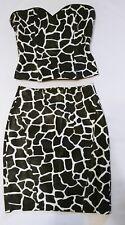 Jean Claude Jitrois Giraffe Print Leather strapless Bustier Top & Skirt FR 38