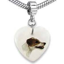 Jack Russell Terrier Heart Mother Of Pearl European Bracelet Charm Bead EBS45