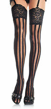 BLACK Vertical Striped, Lace Top Thigh High Stockings