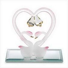 """Love Swans 3"""" x 2"""" x 2 3/5"""" high glass sculpture"""