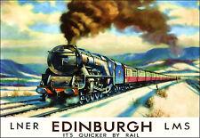 Art Poster LNER Edinburgh Quicker by Rail LMS  Travel  Ad  Print