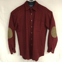 Pendelton Vintage USA 100% Virgin Wool Elbow Patch Trail Shirt Solid Red Mens MD