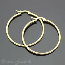 40MM 14K YELLOW GOLD IP STAINLESS STEEL ROUND HOOPS HOOP CIRCLE UNISEX EARRINGS