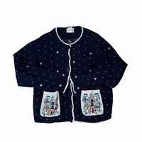 Christopher and Banks Hand-embroidered Christmas Snowman Cardigan Sweater Medium