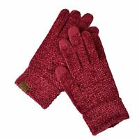 C.C Winter Warm Eco-Friendly Knit Chenille Touchscreen Texting Gloves