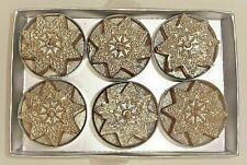 6 x Teelichter Tischdeko Weihnachten gold Stern Glitzer
