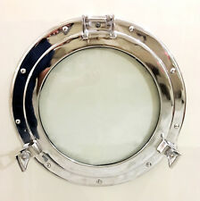 "17"" Glass Nickel Porthole- Ship Porthole-Maritime Round Glass Frame Home Decor"