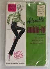 Adorable Ankle-Hi Stockings Beige Nude Toe New in Package 1970's McCrory Green