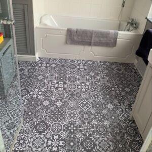 LGrey Moroccan Tile Stickers Floor Kitchen Bathroom Stick On Wall Self Adhesive
