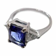 Tanzanite Solitaire with Accents Sterling Silver Engagement Rings