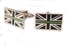 Thin Green Line Cufflinks Ambulance Service Remembrance Subdued Union Jack