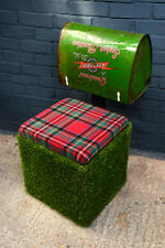 Unusual chair & storage combo made from Astro turf & a vintage lawnmower