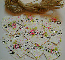 25 Vintage Style Pink Rose Heart Tags 'Thank You For Sharing Our Special Day '
