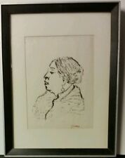 Vintage Zipora Schreiber woodcut woman's profile signed