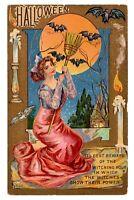 Vintage 1910's  Winsch Schmucker Halloween Postcard (Beautiful Witch&Bats) 10/31