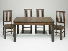 Solid Sheesham Wood Small Fixed Dining Table With 4 Chairs | Madras Range