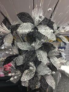 Artificial Bunch Of Silver Glitter Flowers Black Romany Bling NEW_UK