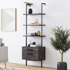 Industrial Bookshelf With Wood Drawers Metal Frame 3 Shelf Ladder Shelf Wall Mount
