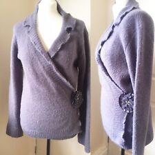 NOUGAT Purple Lilac Wrap Cardigan Size 4 Medium 12 Mohair Mix Posy Long Sleeves