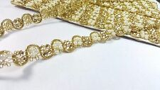 1.5cm- Beautiful & Unique gold beaded and pearls lace trimming ribbon for crafts
