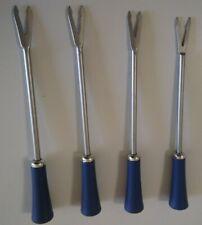 VINTAGE FONDUE FORK SET OF 4 - BLUE HANDLES