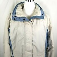 Columbia Womens Winter Jacket Size L Large Snap & Zip Tan Blue Hooded & Lined