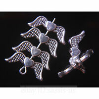 50 Pieces 20mm Angel Wing Spacer Beads Tibetan Silver DIY Jewelry End Bead A7754