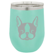Stemless Wine Tumbler Coffee Travel Mug Glass Boston Terrier Puppy