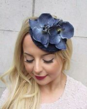 Navy Blue Grey Orchid Flower Fascinator Hat Races Headpiece Hair Clip Vtg 2722