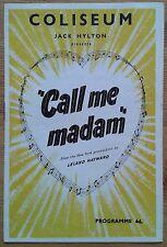 Call Me Madam programme Coliseum theatre 1952 Billie Worth Donald Burr