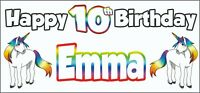 Unicorn 10th Birthday Banner x 2 - Party Decorations - Personalised ANY NAME