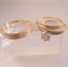 Vintage 14k Wedding Ring Set Engagement Wedding Bands Bride & Groom Sz 5.75 & 9