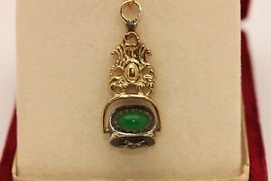 PERFECT 8K GOLD ANTIQUE STYLE DIAMOND AND JADE STONE DECORATED PRETTY NECKLASE