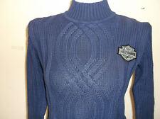 Harley-Davidson WOmen's L/S Blue Cable knit mock sweater 96311-02VW XS