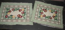 Set of 2 - Apples & Flowers Tapestry Pillow Top Fabric Piece