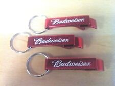 Budweiser Bottle Opener Key Ring Red Aluminum - Set of Three (3) New & Free Ship