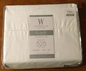 Wamsutta 525 Thread Count Twin XL Oversized Flat Sheet White 100% Pima Cotton